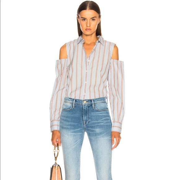 NWT Frame cotton shoulderless top button-up shirt
